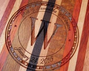 Personalized Cutting Board, Wedding Gift, Engraved, Custom, 5th Anniversary, Housewarming, Chef, Exotic Wood, Chopping Block, Butcher Board