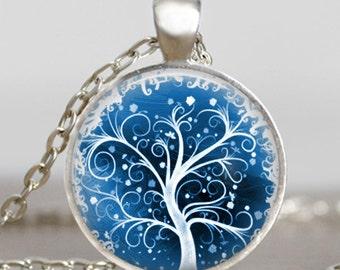 Tree of life frozen ice necklace ,Tree of life icy snowy jewelry , Snowy tree of life pendant ,handmade jewelry,friend family gift idea