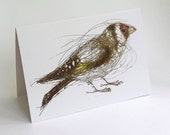 Goldfinch Card, Greeting Card, Bird Art Card,  Bridget Farmer Cards, British Bird, Irish Bird, Finch