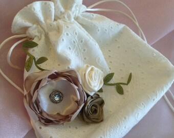 WEDDING BRIDAL IVORY Drawstring Bag, Paisley Eyelet Design, Shabby Chic, Country Wedding, Heirloom/Keepsake, Wedding Accessory