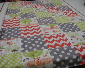 Woodland Babies Coral Lime Gray Minky Blanket You Choose Size MADE TO ORDER No Batting