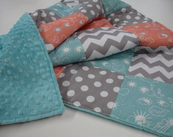 Whales You Are My Sunshine Coral Aqua Chevron and Dots Minky Blanket You Choose Size MADE TO ORDER No Batting