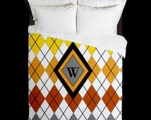 Argyle Design Monogram Initial Queen Duvet Cover - Orange, Red, Yellow