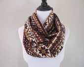Nordic Scarf - Fair Isle Scarf - Infinity Scarf - Fall Fashion - Tan, Cream, and Brown - Winter Scarf, Black Friday
