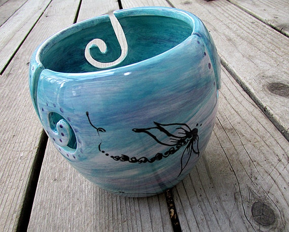Made to order Dragonfly yarn bowl crochet knit pottery bowl choose your colors large yarn bowl tall yarn bowl rustic pottery bowl