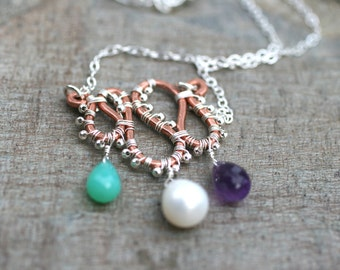 Chrysoprase, Pearl, Amethyst Gemstone, Copper and Sterling Silver Mixed Metal Gemstone Wire Wrapped Handmade Necklace