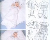 Simplicity 5813 Baby Christening Gowns Caps Sizes XXS-XS-S-M