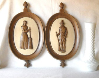 Vintage Colonial Plaques Americana 1960s Decor