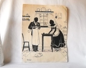 Vintage Silhouette Antique Silhouette Drawing 1930s Artwork
