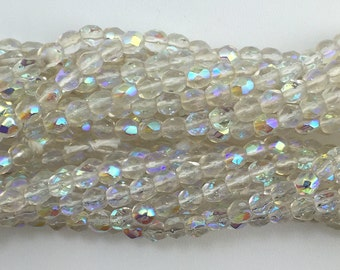Transparent Faceted Crystal AB Glass Beads 4mm (50) bds1499J