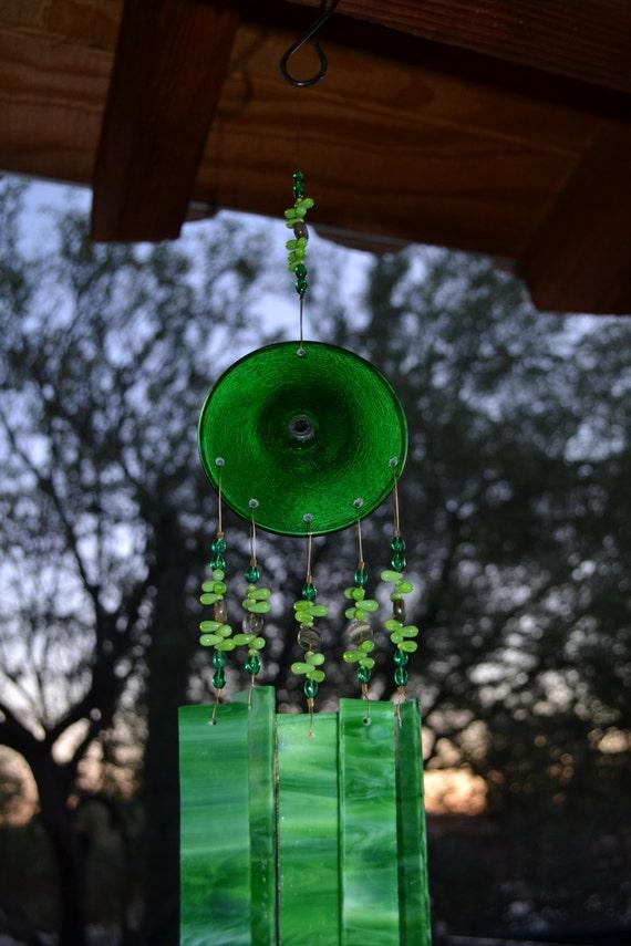 Reduced Price..Sale..Windchime Kiwi Stained Glass Suncatcher