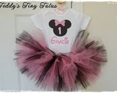 Pink Minnie Mouse Birthday Tutu Set Personalized Minnie Mouse Onesie Disney Birthday Outfit Baby 9 12 18 Months