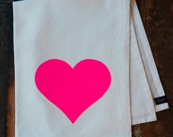 Heart in Neon Pink - Hand Printed Tea Towel - Cotton