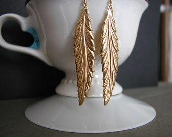 Matte Gold Plated Long Leaf Dangle Earrings