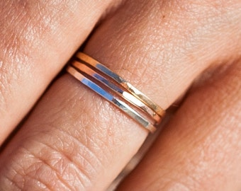 The Trio |Thin Band Ring Set | Stacking Rings | Handcrafted Rings