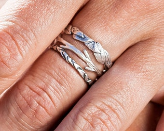 Leaf Twig and Pinecone Set    Stacking Rings   Nature Inspired
