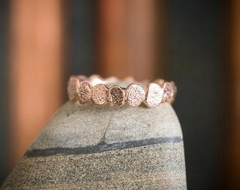 14k Rose Gold Small Pebble Ring | Stacking Ring | Nature Inspired Ring