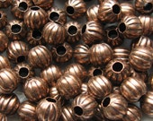 Antique Copper Melon Beads - Set of 75 - Copper Plated Round Iron Beads 6mm (GBD0006)