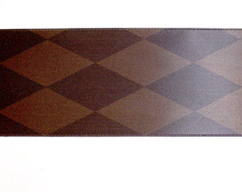 Wide Brown Ribbon, Single-Faced Brown Satin Ribbon 2 1/4 inches wide x 10 yards, Diamond Pattern, Offray Ribbon