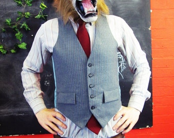 Vintage 1970s Traditional Grey Pinstripe Waistcoat w/ Matching Buttons Large