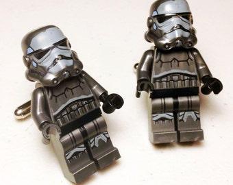 Groomsmen Gifts, Cuff links, Groom, Wedding, Full Body Gray Trooper silver toned cufflinks in gift box