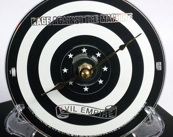 Cd Clock, Desk Clock, Wall Clock, RATM, Recycled Music Compact Disc, Upcycle, Battery, Wall Hanger & Stand ALL INCLUDED