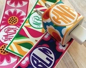iPhone monogrammed charger wrap, Retro Floral print, personalized iphone charger sticker, vinyl glossy sticker set of 2