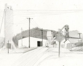 Original Fine Art Drawing Plein Air Landscape of a Mill Factory in White City, Oregon