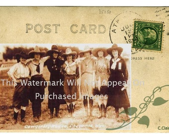 Vintage Cowgirl Group Photograph Postcard Instant Digital Download Western Art Scrapbooking Retail Store Tag T-Shirt Transfer Business Card