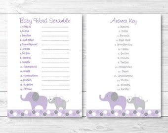 Purple Elephant Baby Word Scramble INSTANT DOWNLOAD