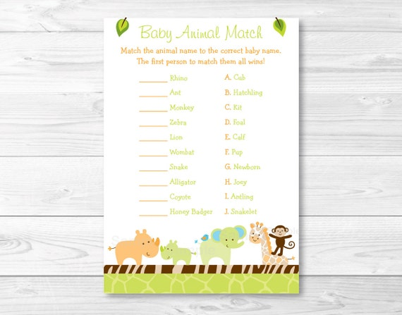 picture about Baby Animal Match Game Printable identify Facts in excess of Wildlife Jungle Pets Kid Shower Kid Animal Sport Video game Printable