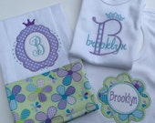 Personalized  bodysuit, burp cloth and bib shower gift set for baby princess - lavender-green-blues
