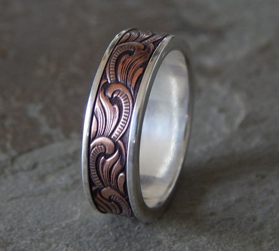 Paisley silver copper men39s wedding ring for Mens copper wedding rings