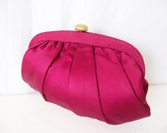 Vintage Cranberry Satin Clutch - MM MorrisMoskowitz -Formal Purse - Holiday Party - Matching Change Purse, Mirror