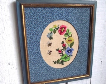 Vintage Crewel Embroidery Framed Bees and Flowers