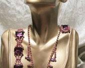 Vintage Rhinestone Glass Necklace Bracelet Earrings Set