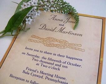 Nautical Knot Wedding Invitations, Seaside Wedding Invitation, Destination Wedding