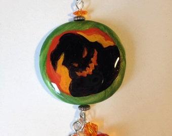 Oogie Boogie Nightmare before Christmas Orange Green Swarovski Crystal Necklace Dangle Pendant Halloween