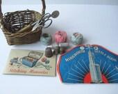 Vintage Sewing Supplies and Basket Set of Twelve