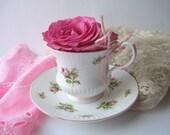Vintage Royal Dover English Bone China Pink Rose Teacup & Saucer