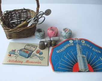 Vintage Sewing Supplies and Basket Set of Twelve