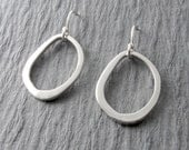 Silver Circle Earrings Modern Everyday Earrings Organic Oval Earrings Simple Earrings Minimalist Jewelry Mother's Day Gift Holiday Gift