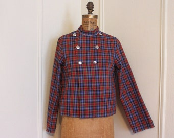 vintage 1960s MOD blouse -blue & red tartan plaid, military, twiggy, sixties, double breasted, uniform - size small to medium, s/m