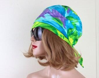 watercolor, 1970s turban hat - vintage summer hat, fez, pre tied head scarf, 70s snood - wisps of blue, purple + green brushstrokes