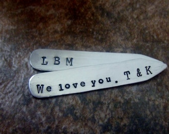 Personalized Collar Stays-  Handstamped Collar Stays - Collar Stiffener - Fathers Mens Groom  Groomsmen Anniversary Graduation Gift for Him