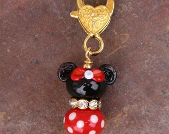 Golden Minnie Mouse Style Disney Inspired DeSIGNeR Lampwork Charm Red Black Disneyland Magic