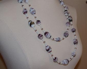 Purple & White Swirl Glass Bead Necklace