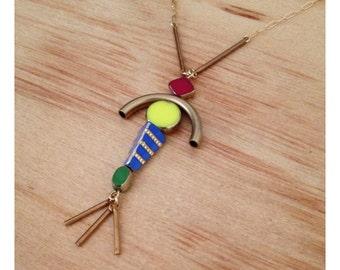 Handmade czech glass and brass fringe totem necklace