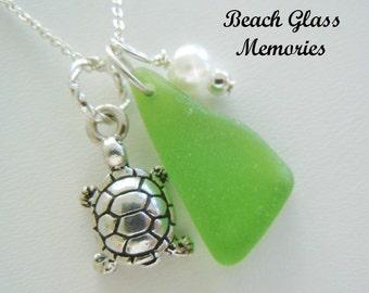 Beach Glass Jewelry Turtle Necklace - Green Seaglass - Beach Pendant