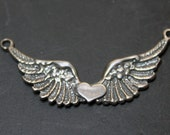 Flying Heart Large Wings Link with Heart Sterling Silver